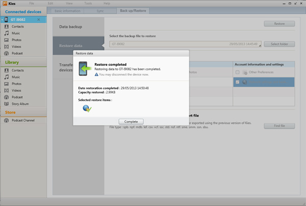 Samsung Kies Restore Backup Process Completed