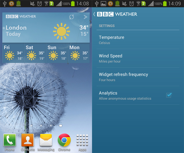 BBC Weather Widget for Android