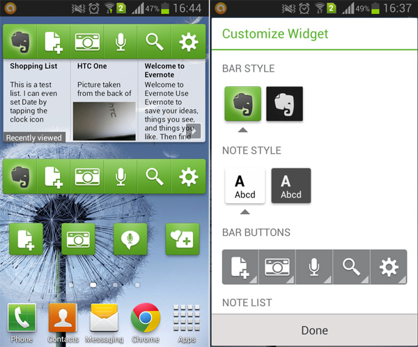 Evernote Widgets
