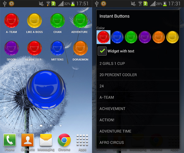 Instant-Buttons-Android-Widget