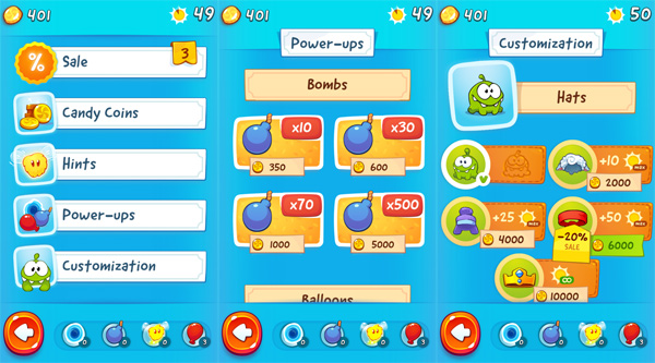Cut-The-Rope-2-for-Android-in-app-purchase-items