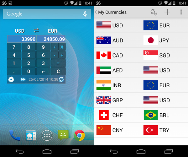 Currency Calculator Widget Features