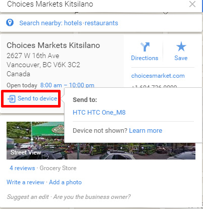 Send Directions from Desktop Google Maps to Android