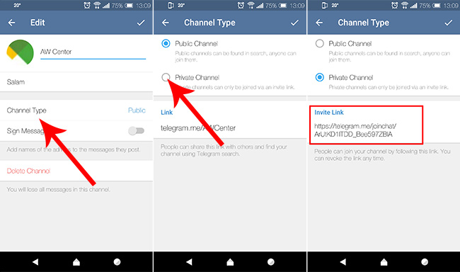 how to create a join chat link for a channel in telegram public