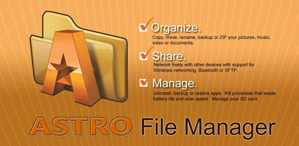 ASTRO is a powerful file manager which helps you organize, view, manage or share your contents