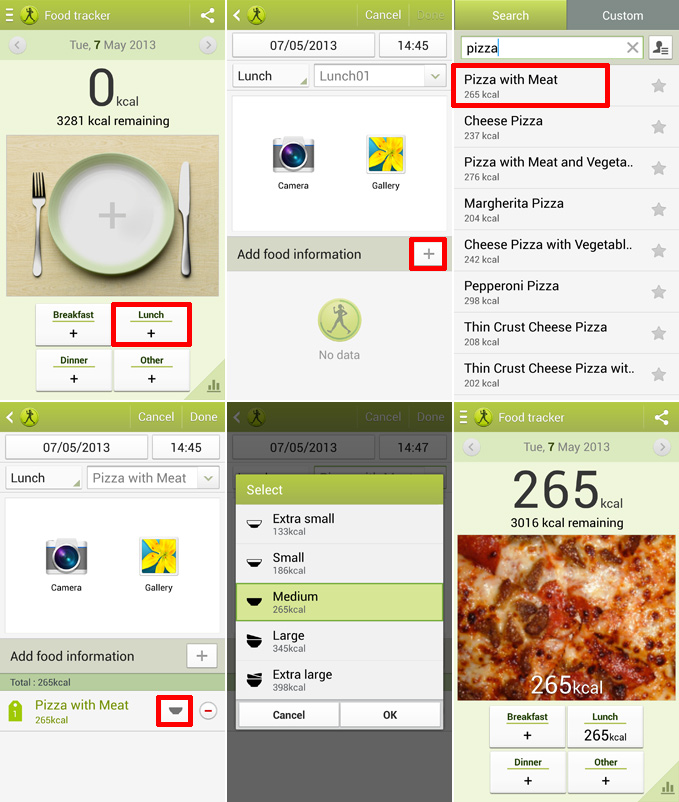 Add Food in S Health on Galaxy S4