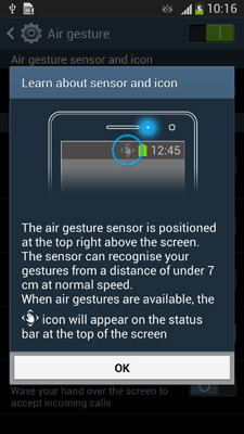 Air Gesture on Galaxy S4