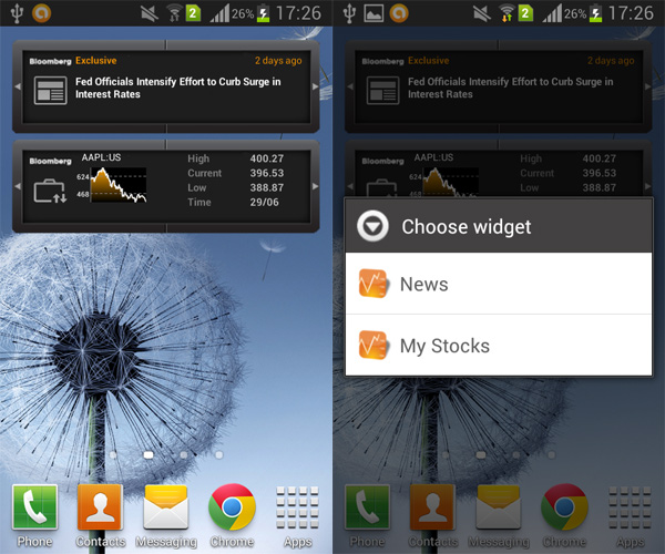 Bloomberg for Android (widget reveiw) | AW Center