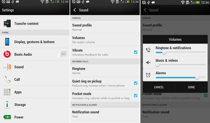 Change Audio Volume on HTC One