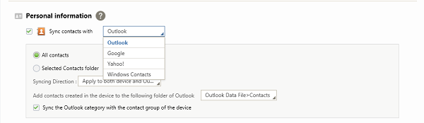 Sync Contacts with Outlook