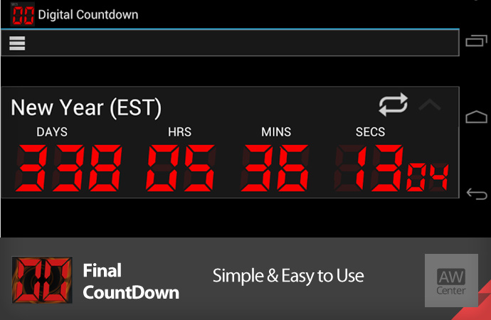 final countdown android countdown timer widget app aw center. Black Bedroom Furniture Sets. Home Design Ideas
