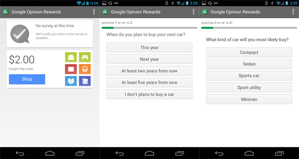 how often does google opinion rewards send surveys 3 new android apps by google opinion rewards text to 1331