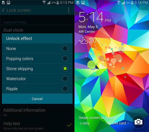 galaxy s5 lock screen clock